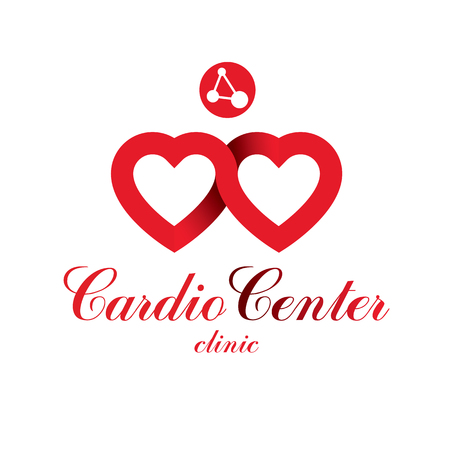 Heart shape vector icon created with wire frame connections and mesh. Scientific research and cardiology metaphor, cardiovascular illness treatment concept for use as cardio center emblem.