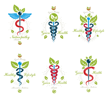 Set of Caduceus vector conceptual emblems created with snakes and green leaves. Wellness and harmony metaphor alternative medicine concept, phytotherapy icons.