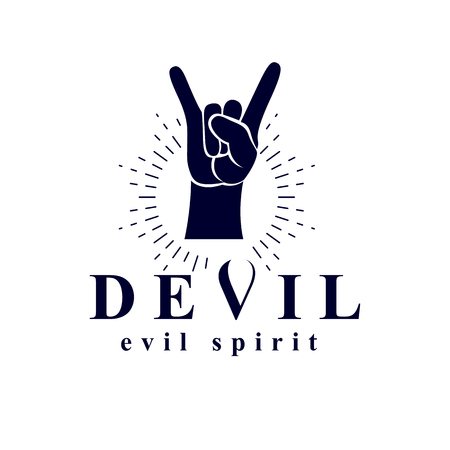 Rock on hand sign created with a devil inscription, evil spirit logo. Illustration