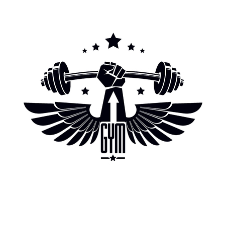 Logotype for heavyweight gym or fitness sport gymnasium, winged retro stylized vector emblem or badge With barbell and strong hand fist. Illustration