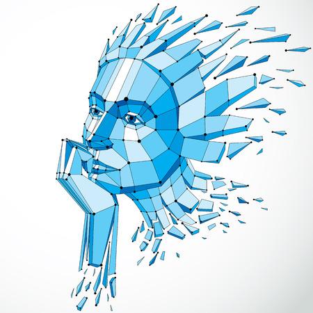 Vector dimensionales niedriges weibliches Polyporträt mit Linien Masche, die grafische Illustration des menschlichen Kopfes gebrochen in Fragmente. 3d demolierte den Drahtrahmengegenstand, der mit Brüchen und verschiedenen Partikeln geschaffen wurde Standard-Bild - 93682371