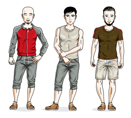 Happy men group standing wearing stylish sport clothes. Vector diverse people illustrations set. Illustration