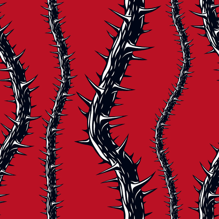 Horror art style seamless pattern, vector background. Blackthorn branches with thorns stylish endless illustration. Hard Rock and Heavy Metal subculture music textile fashion stylish design. Фото со стока - 93657084