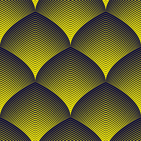 Abstract lines geometric seamless pattern, vector repeat endless fabric background. Roof tiling or fish squama shapes motif. Usable for fabric, wallpaper, wrapping, web and print. Illustration