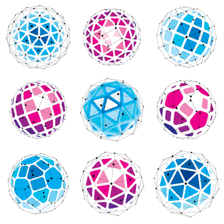 Set of perspective technology shapes, polygonal wire-frame objects collection. Abstract faceted elements for use as design structures on communication technology theme. Illustration