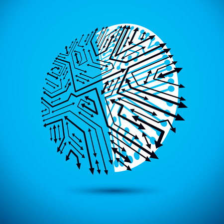 Vector microchip design, cpu. Information communication technology element, circuit board in round shape with arrows. Illustration