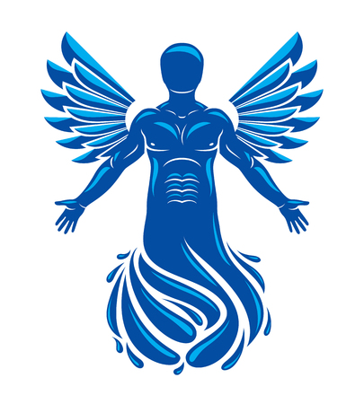 Vector graphic illustration of muscular human, individual made with bird wings. Pure water is free life, Poseidon the god of sea and defender of all waters.