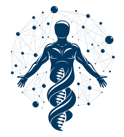 Vector graphic illustration of human made as DNA strands continuation, individuality created with mesh wire-frame connections. Biochemistry scientific research.