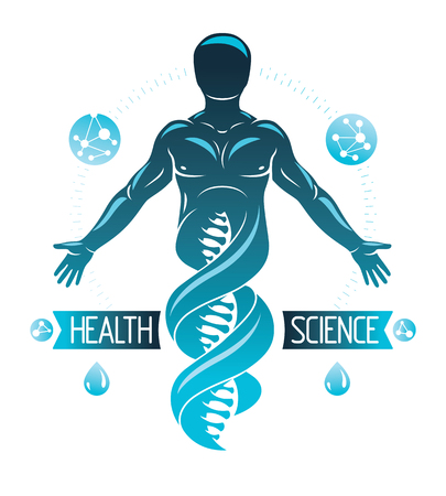 Vector illustration of human, athlete depicted as DNA symbol continuation and created with wireframe connections. Bioengineering and genetics concept.