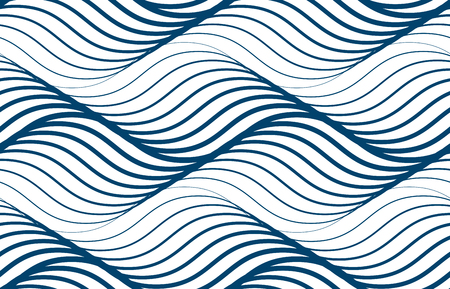 Water waves seamless pattern, vector curve lines abstract repeat tiling background, blue colored rhythmic waves. Vettoriali