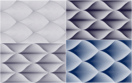 Abstract lines geometric seamless patterns set, vector repeat endless fabric backgrounds collection. Floral leaves or fish squama shapes trendy motif. Single color, black and white. Usable for fabric, wallpaper, wrapping.