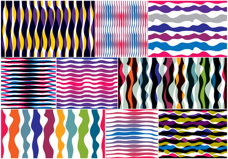 Artistic curve lines seamless patterns set, abstract colorful vector backgrounds collection. Usable for fabric, wallpaper, wrapping, web and print horizontal trendy designs.