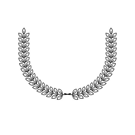 Laurel wreath floral heraldic element. Heraldic coat of arms decorative icon isolated vector illustration.