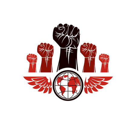 Clenched fists of angry people winged vector emblem composed with Earth globe symbol. Civil war abstract illustration. Social revolution concept. Illustration