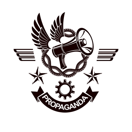 Vector winged logo composed with megaphone equipment surrounded by iron chain and engineering cog wheel. Propaganda as the method of ideology imposing