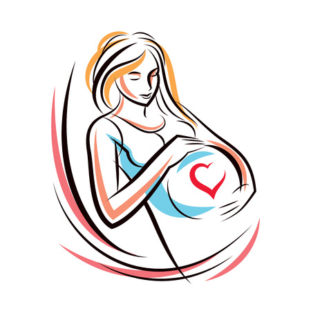 Pregnant elegant woman expects baby, hand-drawn vector illustration composed by heart shape frame. Love and fondle theme. Mothers day.