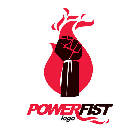 Vector illustration of clenched fist in the burning fire. Revolution idea symbol can be used as tattoo. Illustration