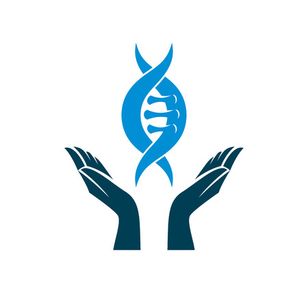 Caring hands hold a model of human DNA. Bio engineering as the direction of genetics, abstract vector scientific symbol best for use in education, science and humanity evolution research.