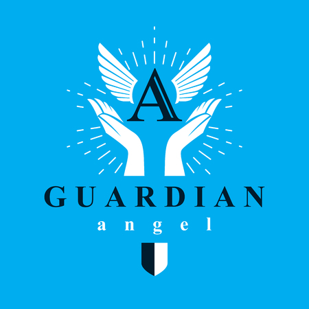 Archangel vector conceptual symbol for use in catechesis organizations.