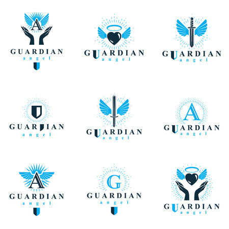 Holy spirit graphic vector icons collection, can be used in charity and catechists organizations vector emblems created using battle swords, loving hearts and guardian shields.