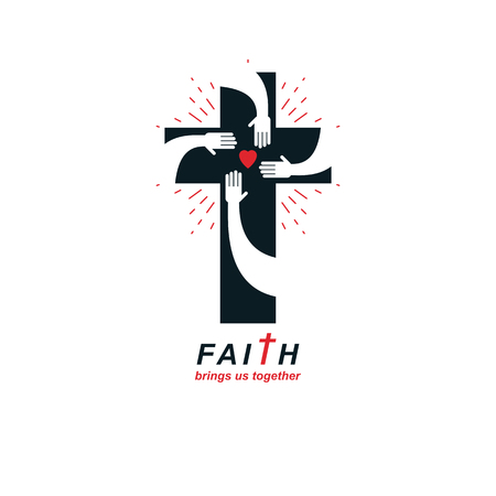 Cross of Christianity true belief in Jesus vector symbol, Christian religion icon. Faith and religion brings people together.