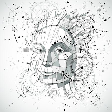 Kopf der künstlichen Intelligenz, niedriger Polyvektordrahtrahmengegenstand der art 3d gebrochen in verschiedene Partikel. Der modernistische Hintergrund kann in Projekten zum Thema des menschlichen Geistes und Bewusstseins verwendet werden. Standard-Bild - 93483777