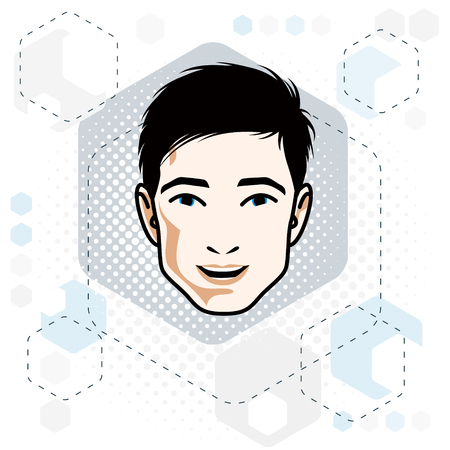 Handsome brunet male face vector illustration, positive face features, clip-art.
