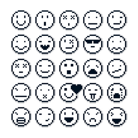 Vector pixel icons isolated, collection of 8bit graphic elements. Set of faces created in different emotional expressions, simplistic digital signs.