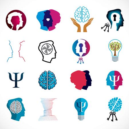 Psychologia, mózg i zdrowie psychiczne wektor zestaw pojęciowy ikony lub logo. Problemy i konflikty psychologii relacji i płci, psychoanaliza i psychoterapia, osobowość i indywidualność. Logo