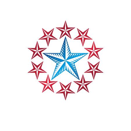 Military Star emblem, victory award symbol.  Heraldic Coat of Arms decorative logo isolated vector illustration.