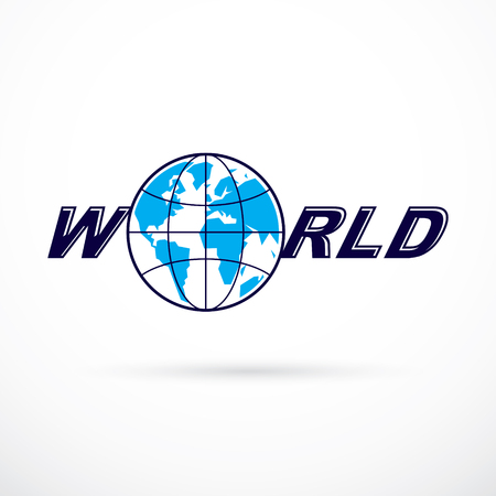 World and global news concept, vector emblem of blue Earth divided with meridians and composed with world inscription.