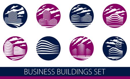 Bâtiment futuriste rond forme icône ou logos ensemble, collection d'illustrations d'architecture vectorielle de style moderne. Conceptions de centre d'affaires immobilier. Façades de bureau d'affaires 3D dans une grande ville.