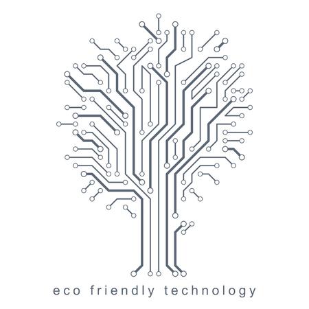 Vector illustration of futuristic tree, new technology. Green thinking technology innovations idea. 일러스트