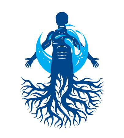 Vector graphic illustration of muscular human, individual created with tree roots and surrounded by a water ball. Body cleansing idea, alternative medicine theme picture. 일러스트