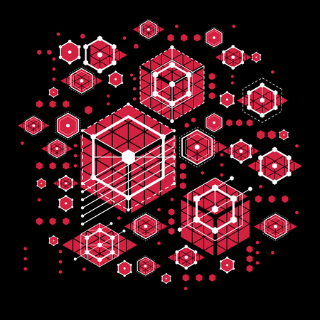 Vector Bauhaus abstract red background made with grid and overlapping geometric elements, circles and striped honeycombs. Retro artwork, technology style graphic template for advertising poster.