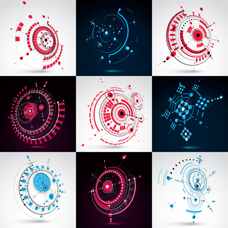 Collection of Bauhaus wallpapers, art dimensional vector background made with lines and circles. Graphic 1960s illustration can be used as booklet cover design. 3d technological pattern.