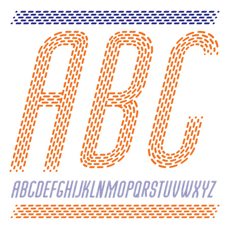 Vector capital condensed modern alphabet letters, abc set. Rounded italic retro type font, script from a to z can be used in poster creation, book. Made using rhythmic strokes and dashed lines.