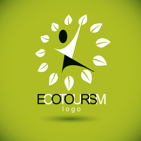 Vector illustration of happy abstract human with reaching up. Ecotourism conceptual logo. Environmental conservation theme symbol.  イラスト・ベクター素材