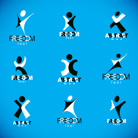 Vector illustration of excited abstract man with arms reaching up. Successful business career abstract symbol.