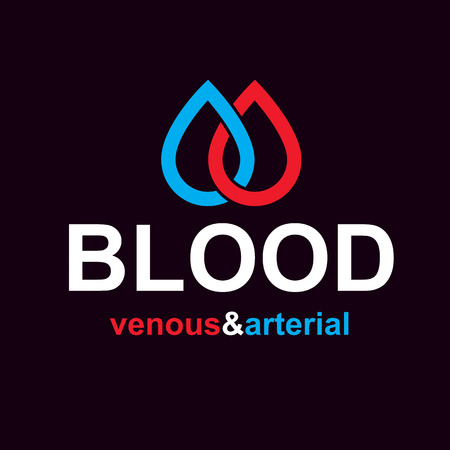 Arterial and venous blood circulation conceptual illustration on black background.