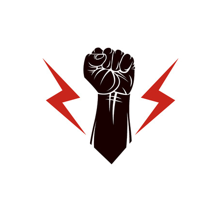 Vector illustration composed using strong muscular raised clenched fist made with lightning symbol. Power and authority concept. Illustration