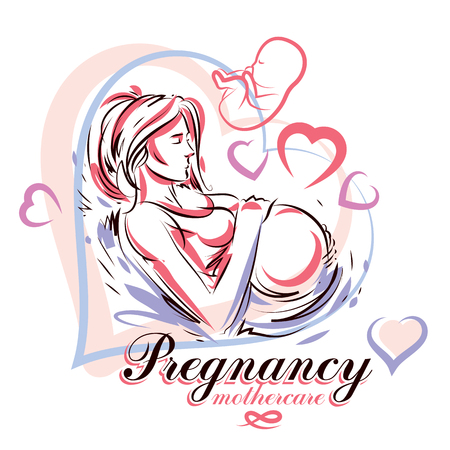 Elegant pregnant woman body silhouette drawing. Vector illustration of mother-to-be fondles her belly. Maternity hospital advertising flyer