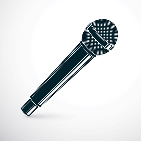 3d microphone vector illustration isolated on white. Social media communication idea, journalism concept.