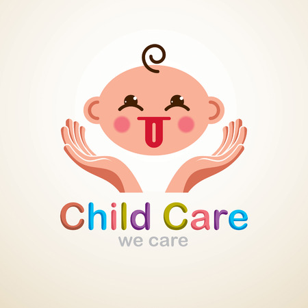 Cute baby cartoon vector flat icon, adorable child showing tongue child emoji. With tender hands of care of mother or nanny, can be used as an icon.