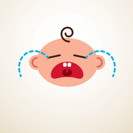 Cute baby cartoon vector flat icon, sad crying and unhappy child emoji.