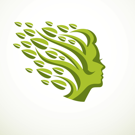 Mother nature concept, beautiful woman head profile with branches and leaves of natural plant vector icon design. Blossoming and growth of everlasting nature, tree and forest planting. Illustration