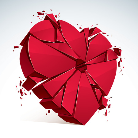 Breakup concept of broken heart, 3D realistic vector illustration of heart symbol exploding to pieces. Creative idea of breaking apart love, break up. Illustration