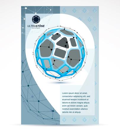Communication technologies business corporation flyer template. Graphic vector illustration, tech  abstract blue shape, polygonal figure.