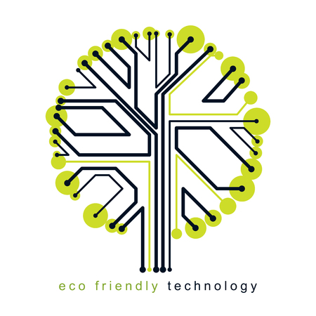 Futuristic tree vector illustration of technology and science conceptual design. Recycling and reuse concept.