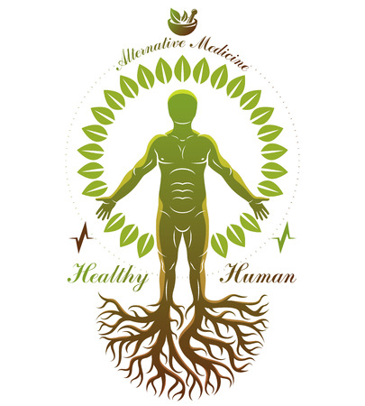 Vector graphic illustration of strong male depicted as continuation of tree and composed with mortar and pestle. Phytotherapy metaphor, healthy lifestyle concept. Vettoriali